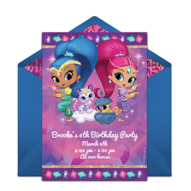 Free Shimmer And Shine Invitations Birthday Invitations Girl Birthday Invitation Templates Birthday Card Template
