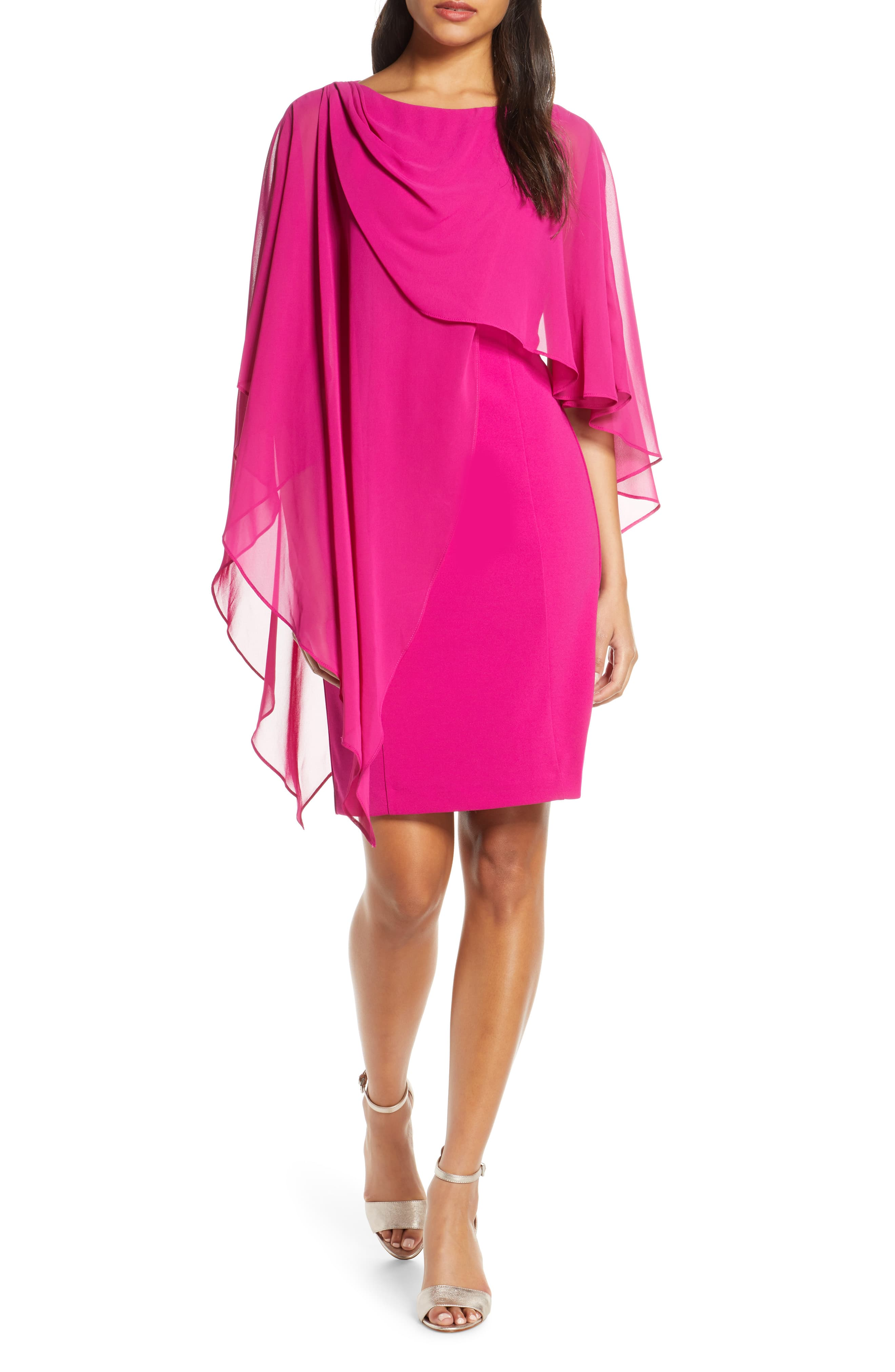 Womens Eliza J Chiffon Cape Cocktail Dress, Size 8 – Pink