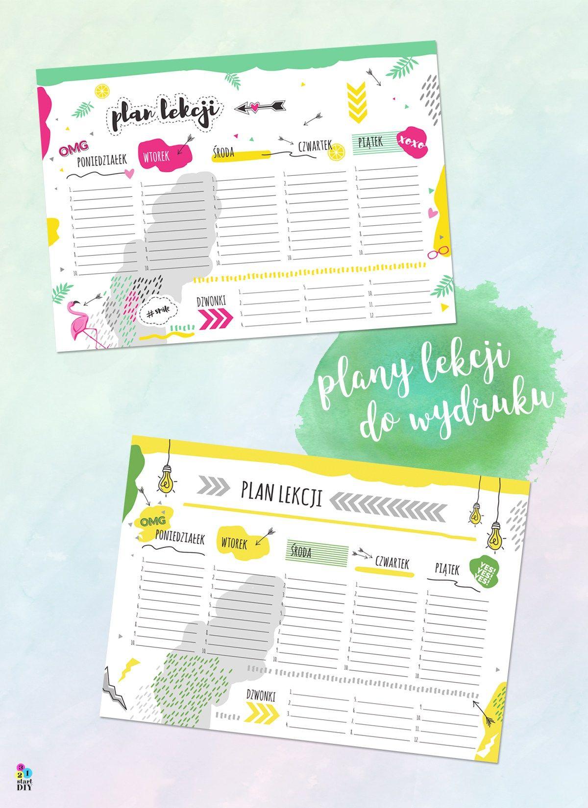 Plan lekcji do druku i wypełnienia 6 wzorów Plany
