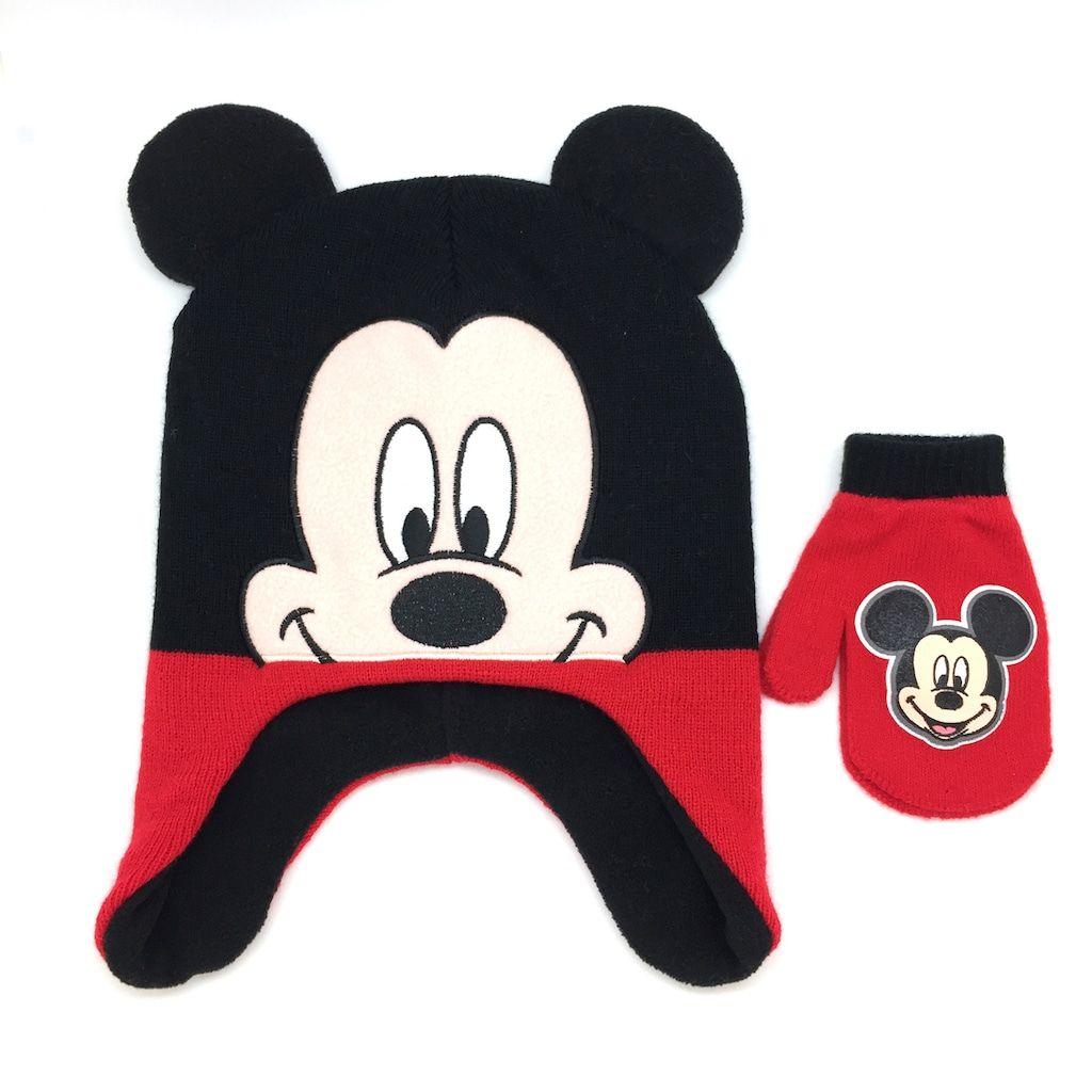 Mickey Mouse Toddler Little Boys Winter Hat /& Mitten Set