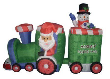 amazoncom 5 airblown inflatable animated santa snowman christmas train lighted