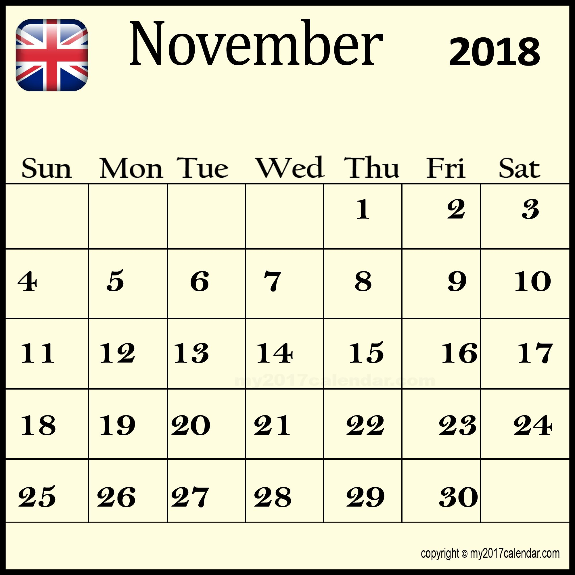 november 2018 calendar uk public holidays