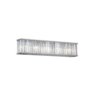 5 Light Crystal Vanity With Polished Chrome Finish  Chrome Finish Simple Crystal Vanity Lights For Bathroom Inspiration Design