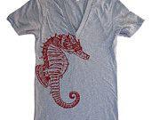 Unisex SEA HORSE Deep V Neck T Shirt - american apparel - XS S M L (10 Color Options). $22,00, via Etsy.