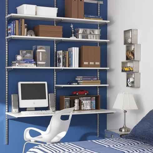 Space Saving Combine A Shelving Unit With A Desk Freshome Com Shelves In Bedroom Bedroom Desk Organization Home