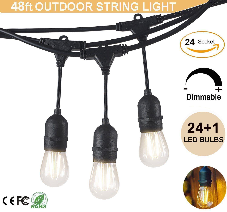 outdoor string lights 48 feet led commercial grade weatherproof