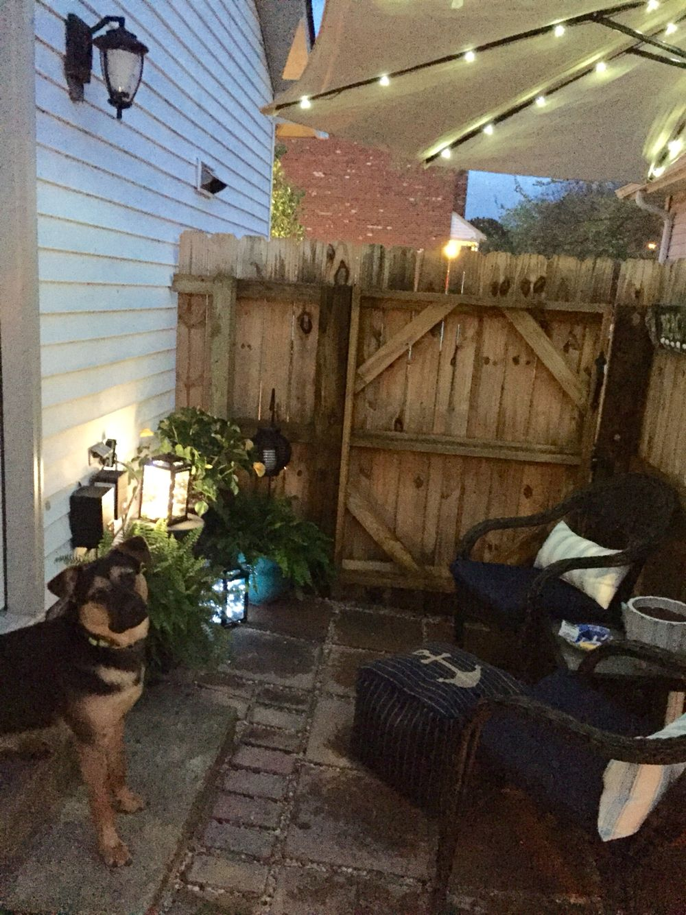 Small side yard patio. Great use of small space by a side door ...