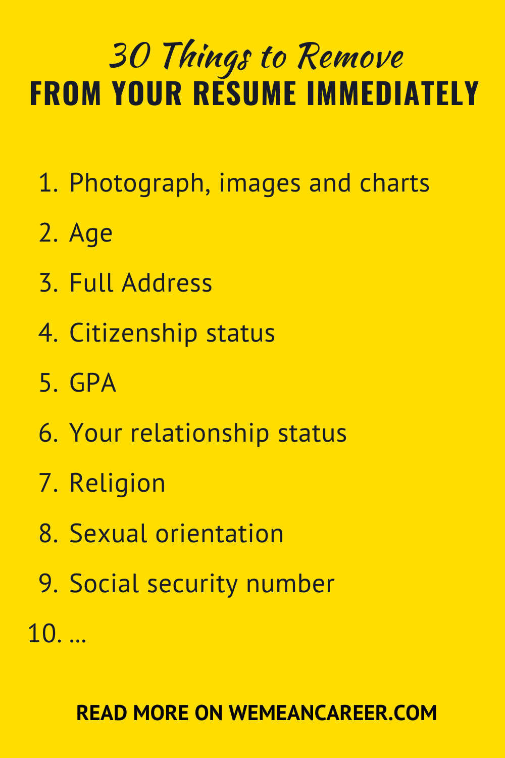 30 Things To Remove From Your Resume Immediately in 2020