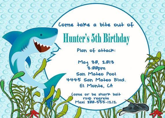 Deb's Party Designs - Shark Attack Birthday Invitation, $1.00 (http://www.debspartydesigns.com/shark-attack-birthday-invitation/)