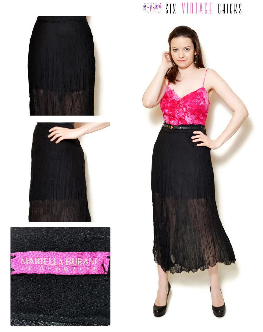 90s sheer skirt see through black mesh chiffon high waisted high ...