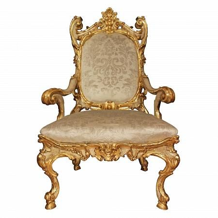Italian Mid 18th Century Louis XV Period Patinated And Giltwood Armchair