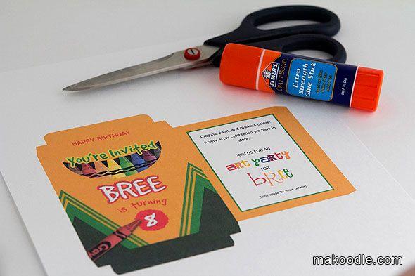 crayon box invitation template nathan s 2nd perfect birthday