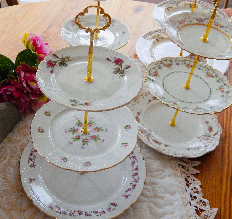 WEDDING CAKE STAND 3 Tier Noritake Vintage Plate Bridal Gift Mismatched Plates