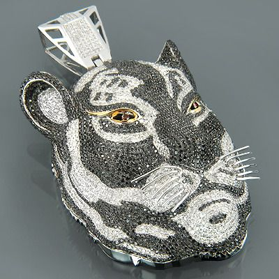 Custom 10k gold diamond tiger pendant necklace 1678ct tiger face a diamond with two stories aloadofball Images