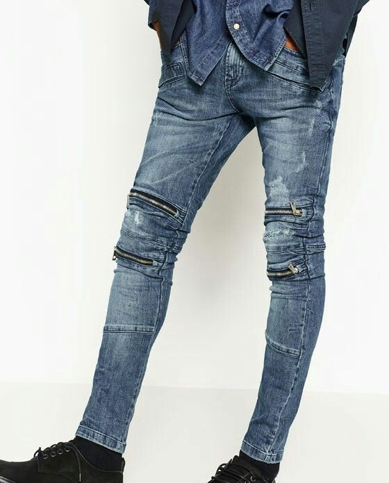 75b0d2e959f ZARA  Biker Slim Fit Jeans