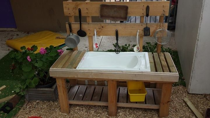 Mud kitchen from old fish tank stand, baby bath and pallet ...