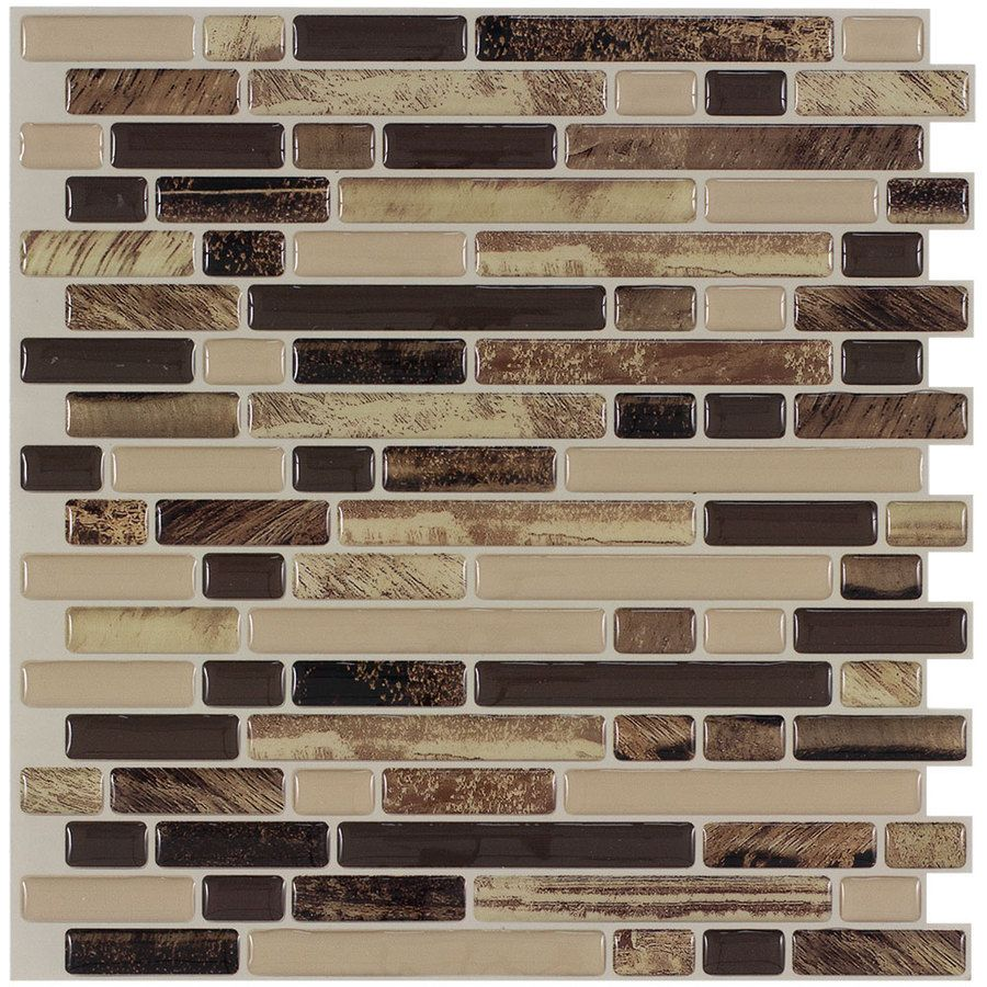 Peel stick mosaics rockbridge linear mosaic composite wall for Peel and stick wallpaper squares