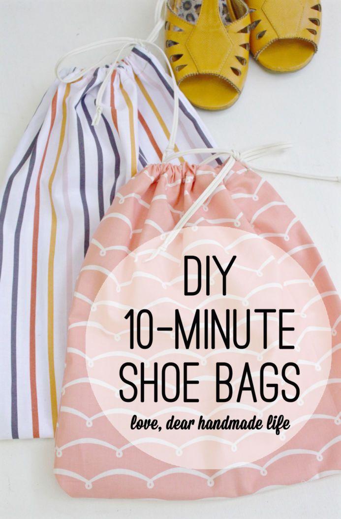 DIY 10-minute shoe bags | Beutel und Nähen