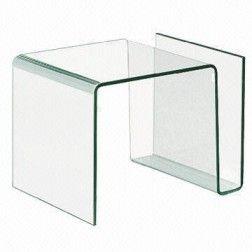 Mesa auxiliar moderna cristal revistero - Mesa auxiliar cristal curvado ...