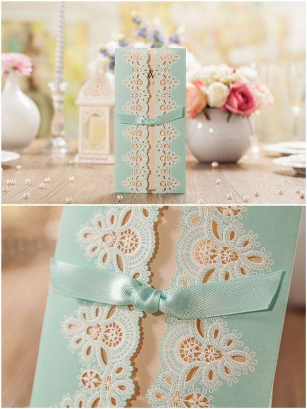 #weddinginvites romantische Hochzeitseinladungskarte in Tiffany Blue mit Laser-Ausschnitt und Satinband