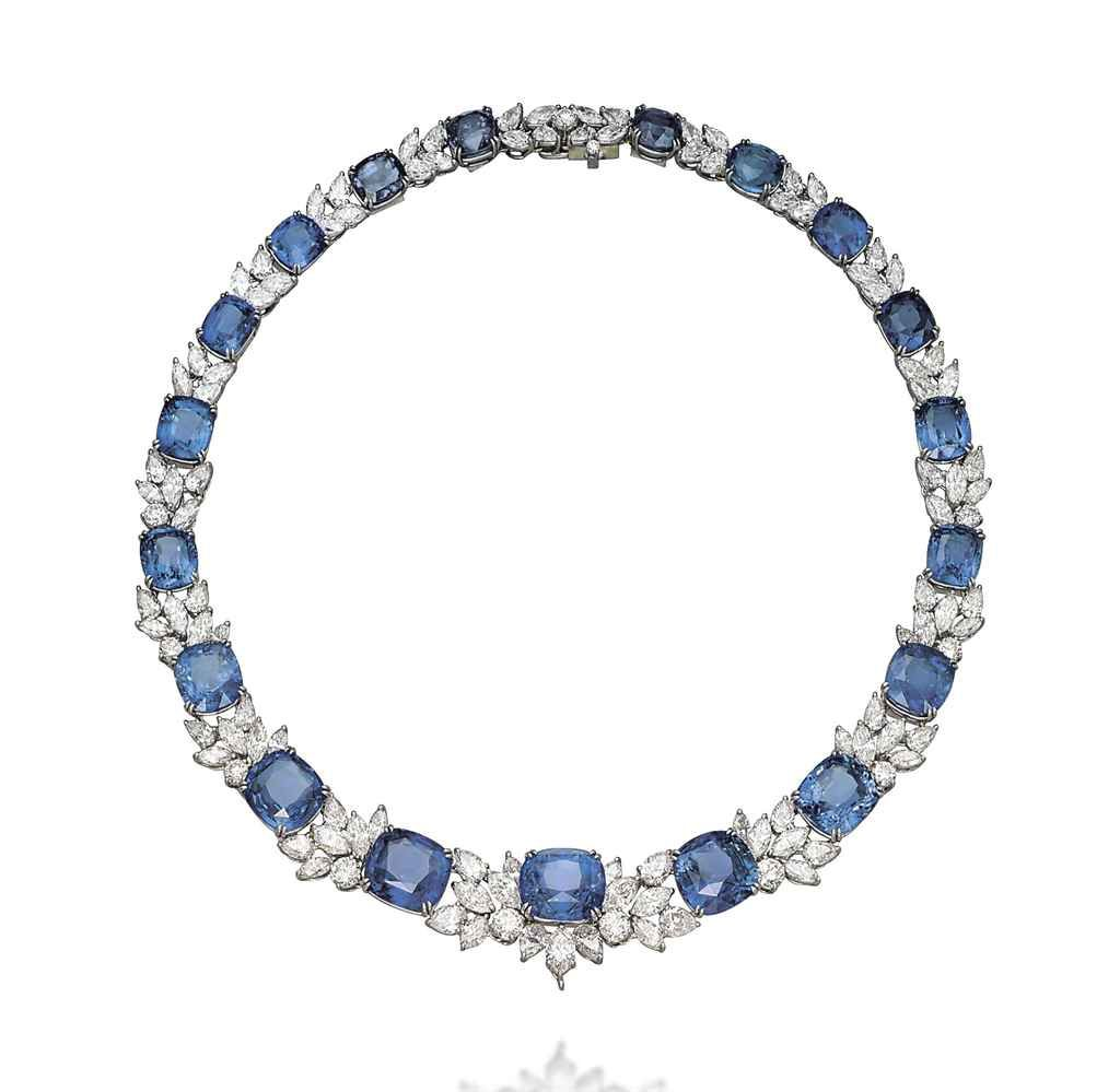 A Sapphire And Diamond Necklace By Harry Winston