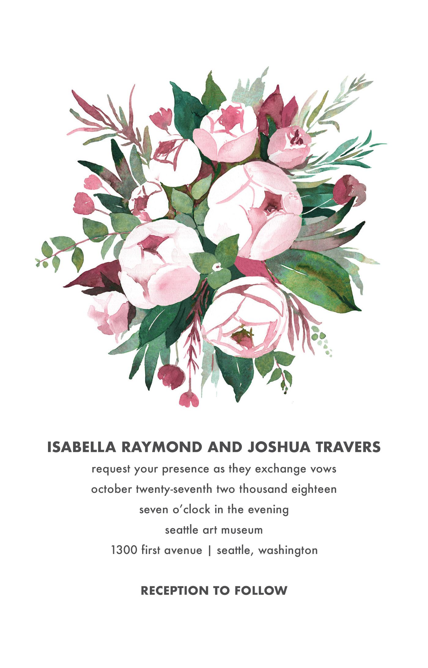 Watercolor Peony Bouquet Invitation Weddings By Vistaprint