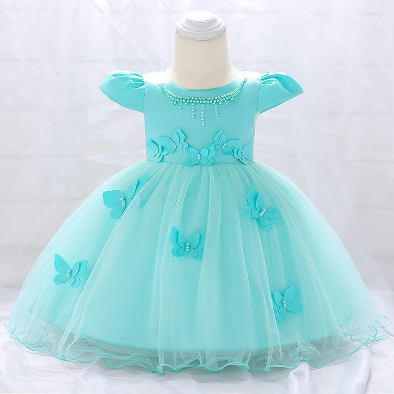 Chic Solid Butterfly Applique Pearl Decor Puff-sleeve Party Dress for Baby Girl #babygirlpartydresses