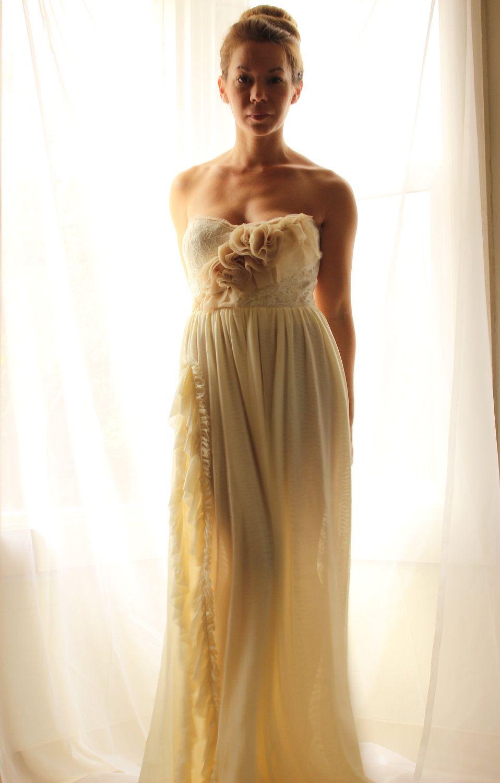 Boho wedding dress with sleeves  Romantic Bohemian Wedding Dress ruffled bustier Somme Custom Gown