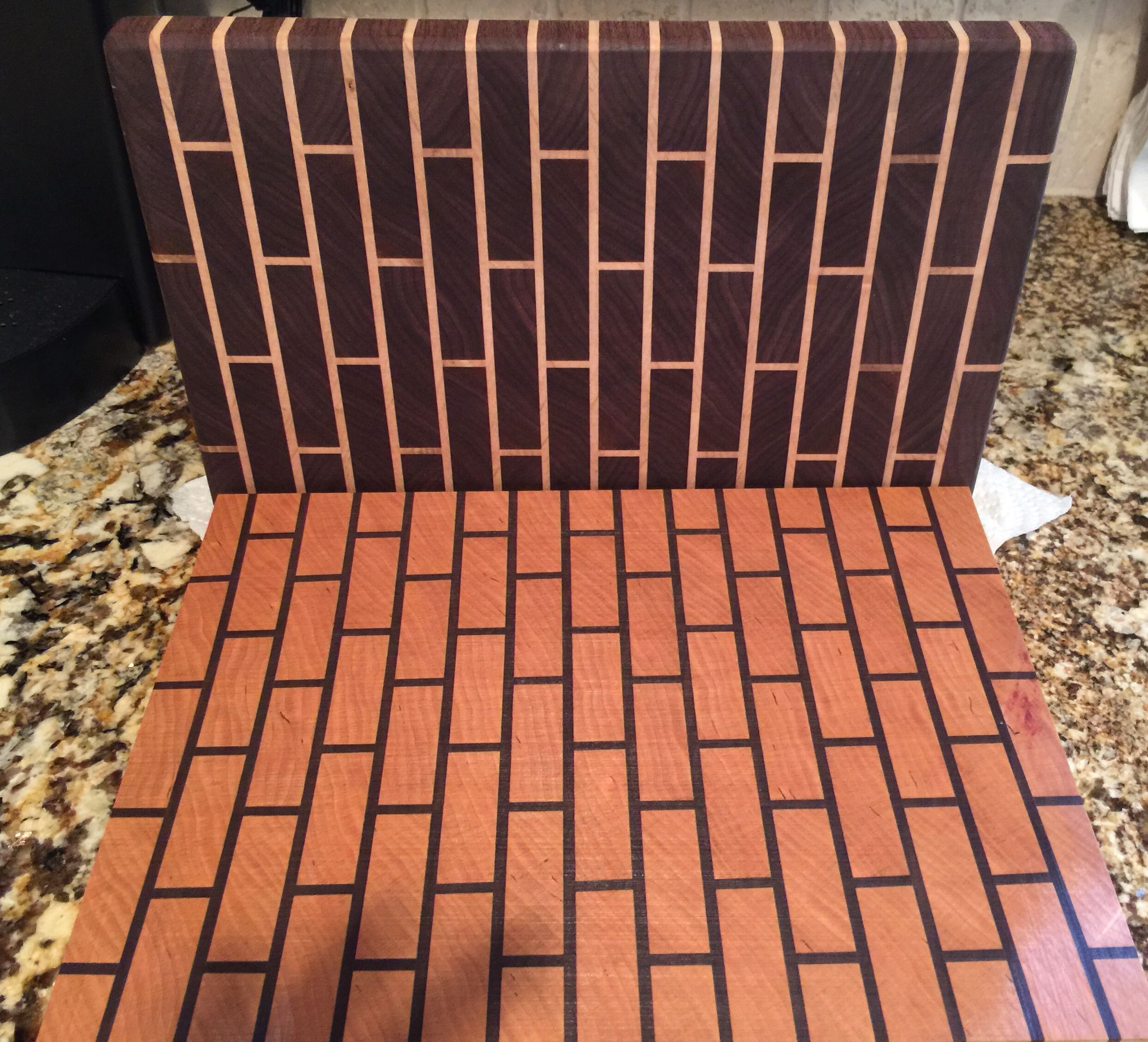 end grain brick pattern cutting boards walnut maple and cherry