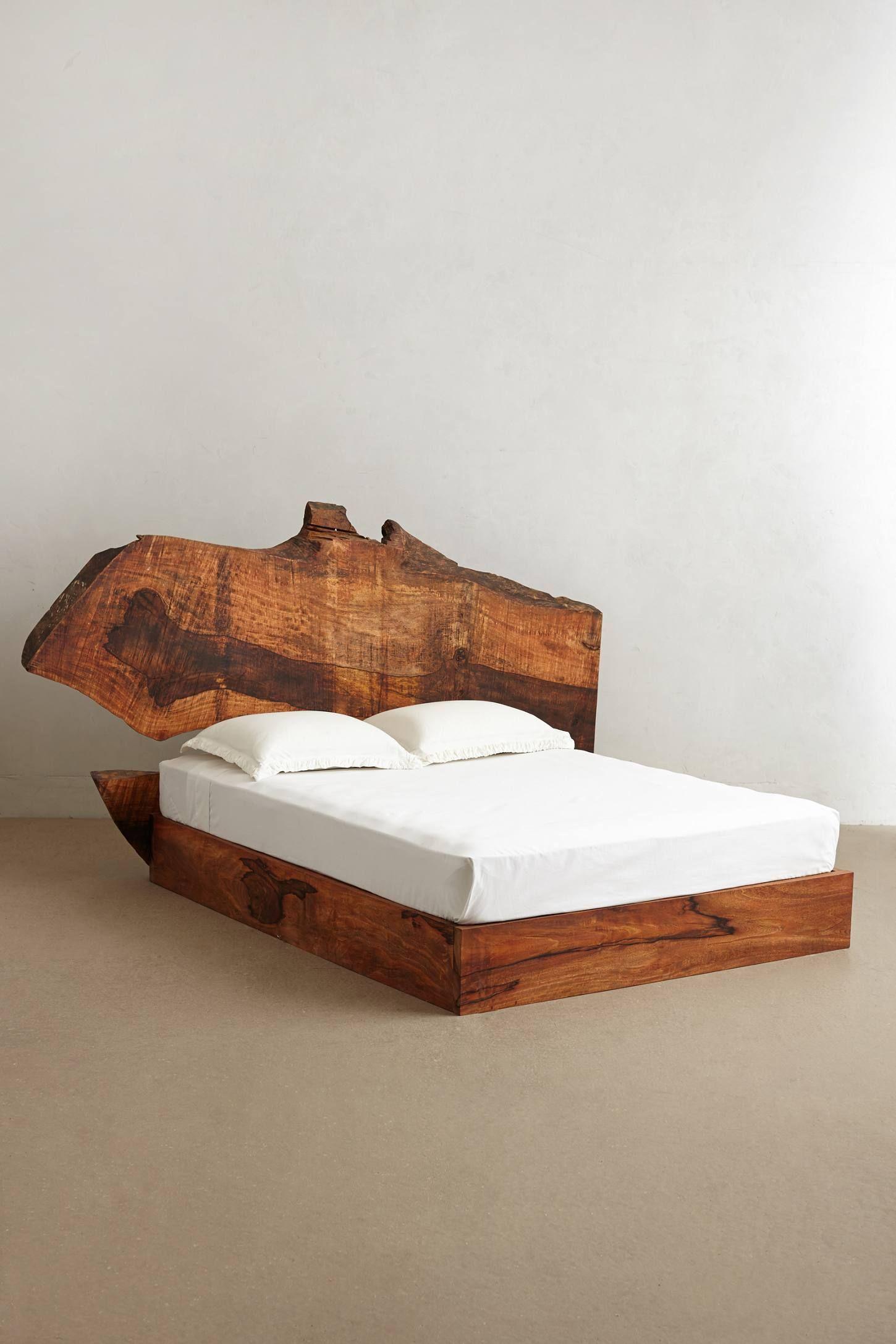 Live Edge Wood Queen Bed Bedroom Pinterest Teak Bedrooms and