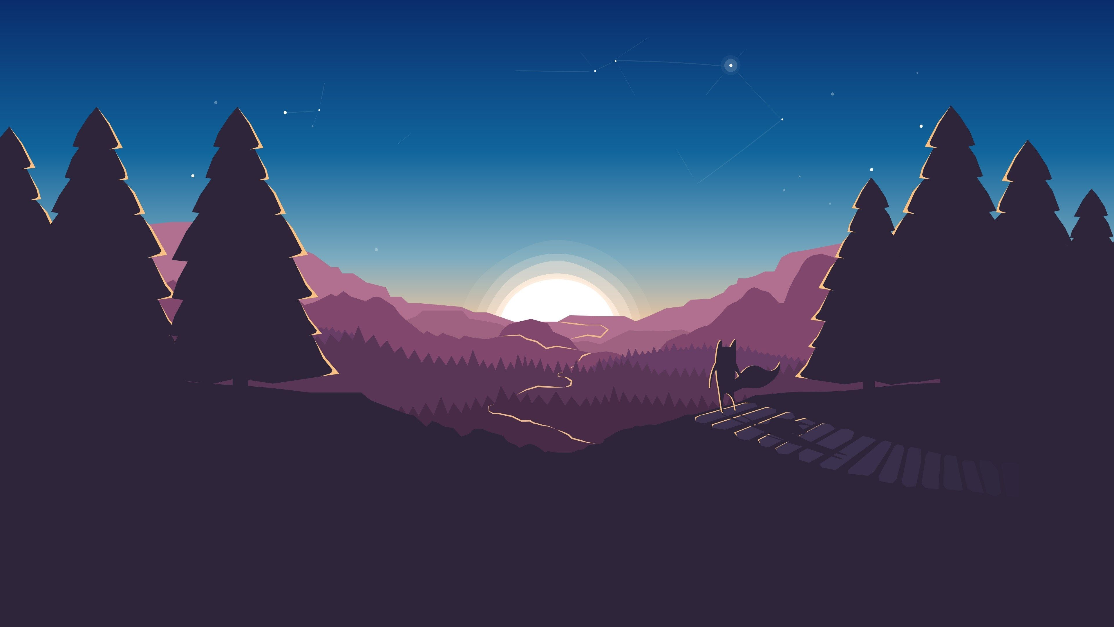 3840x2160 Fox 4k Download Wallpapers Hd For Pc Minimalist Wallpaper Sunset Wallpaper Desktop Wallpaper Art