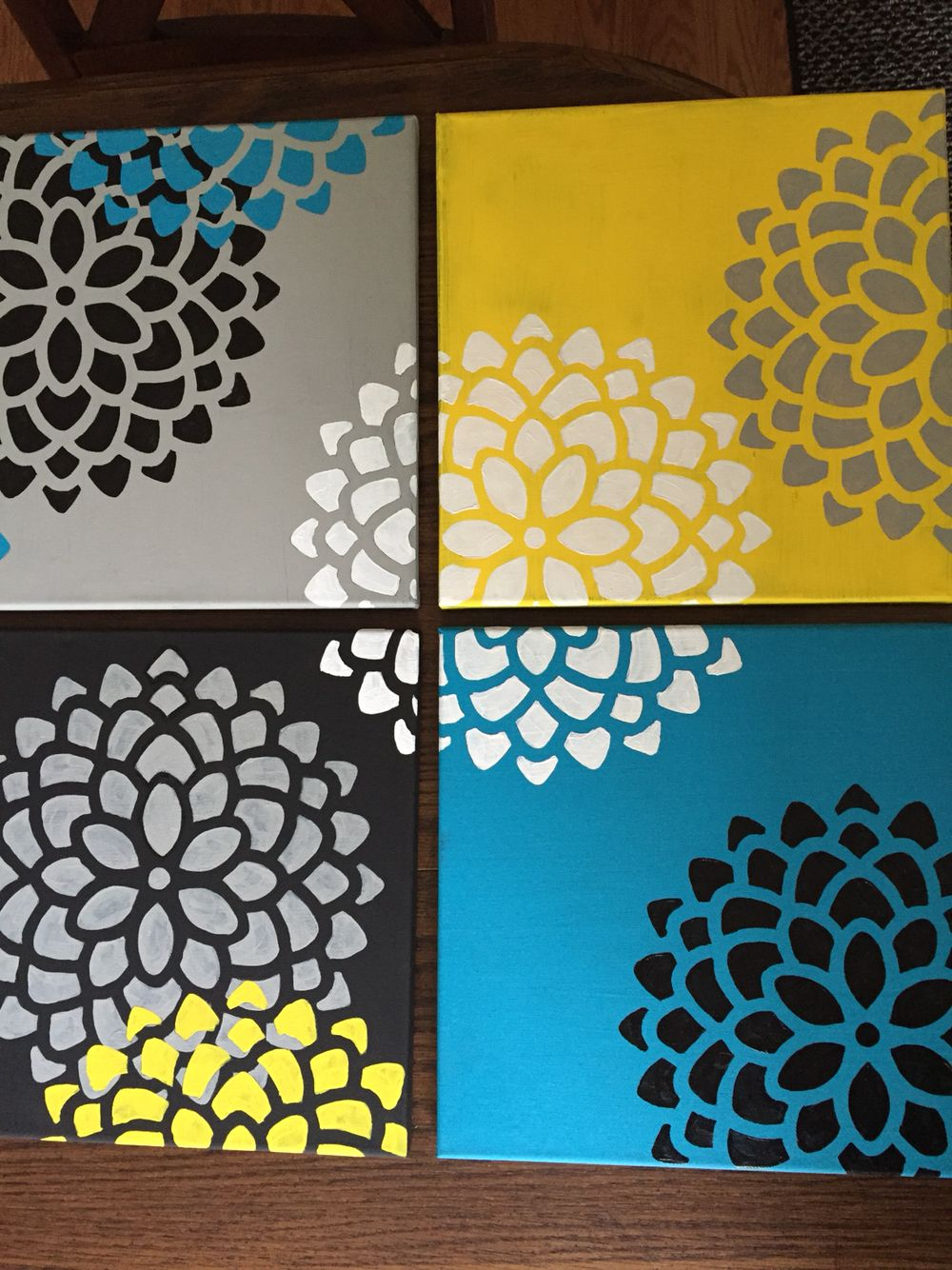 Easy Canvas Paintings Stencil From Michaels And Hand Painted