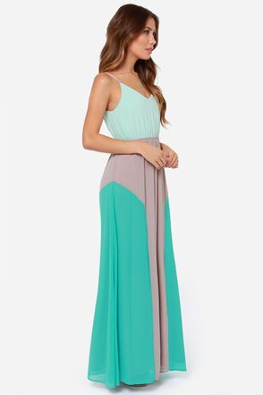 51e176f2813e Cute Color Block Dress - Maxi Dress - Mint Dress -  49.00