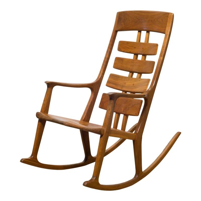 Hand Made Thomas Saydah Mixed Wood Rocking Chair C.1988
