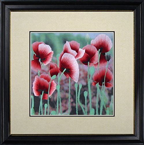 King Silk Art 100 Handmade Embroidery Multiple Framed Red Poppies Oriental Wall Hanging Art Asian Decoration Tapestry Artwork Picture Gifts 36047WFB3 ** Want to know more, click on the image. Note: It's an affiliate link to Amazon.