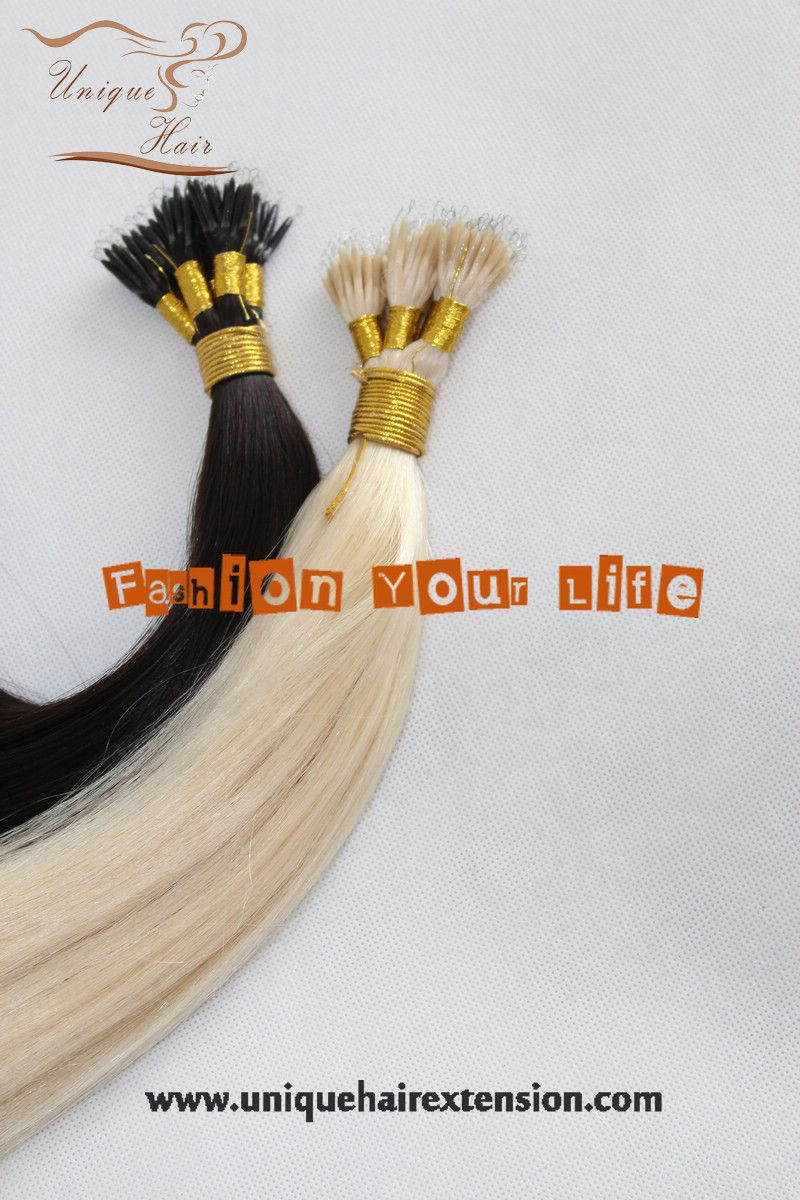 Nano ring hair extensions,manufacturer by Qingdao Unique Hair Products Co.,Ltd.  www.uniquehairextension.com sales@uniquehairextension.com