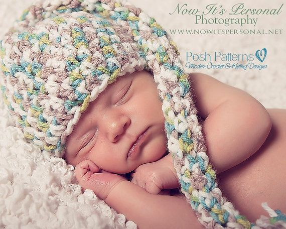 Crochet PATTERN - Baby Long Tail Elf Pixie Crochet Hat Pattern - Instant Download PDF 154 - 3 Sizes - Photography Prop Pattern