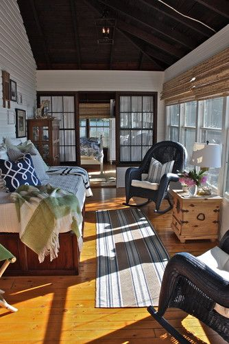Vermont Cottage Eclectic Sunroom Porch  I Like The Dark Blue Wicker  Rockers. OK