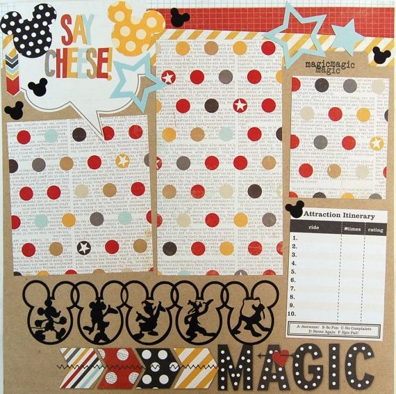 disney premade single 12x12 scrapbook page by by urbansavanna, $9.00