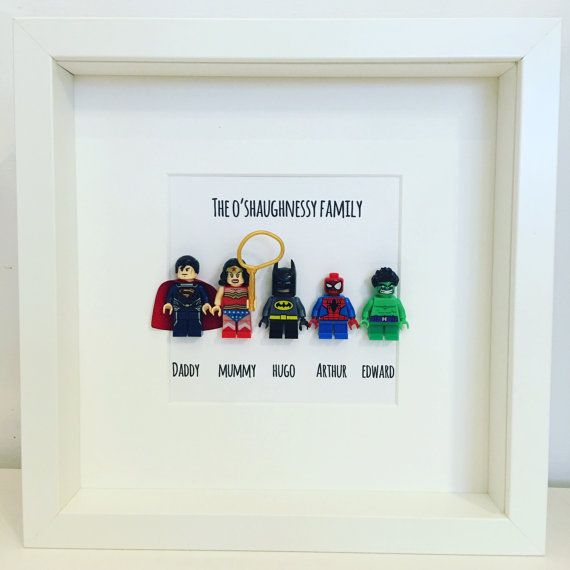 Family Gift Personalised Family gift superheroes Gift Dad Mum mini-figure Superhero Frame. New Baby. Pet. Dog. Lego Baby Cat. Superman #superherogifts