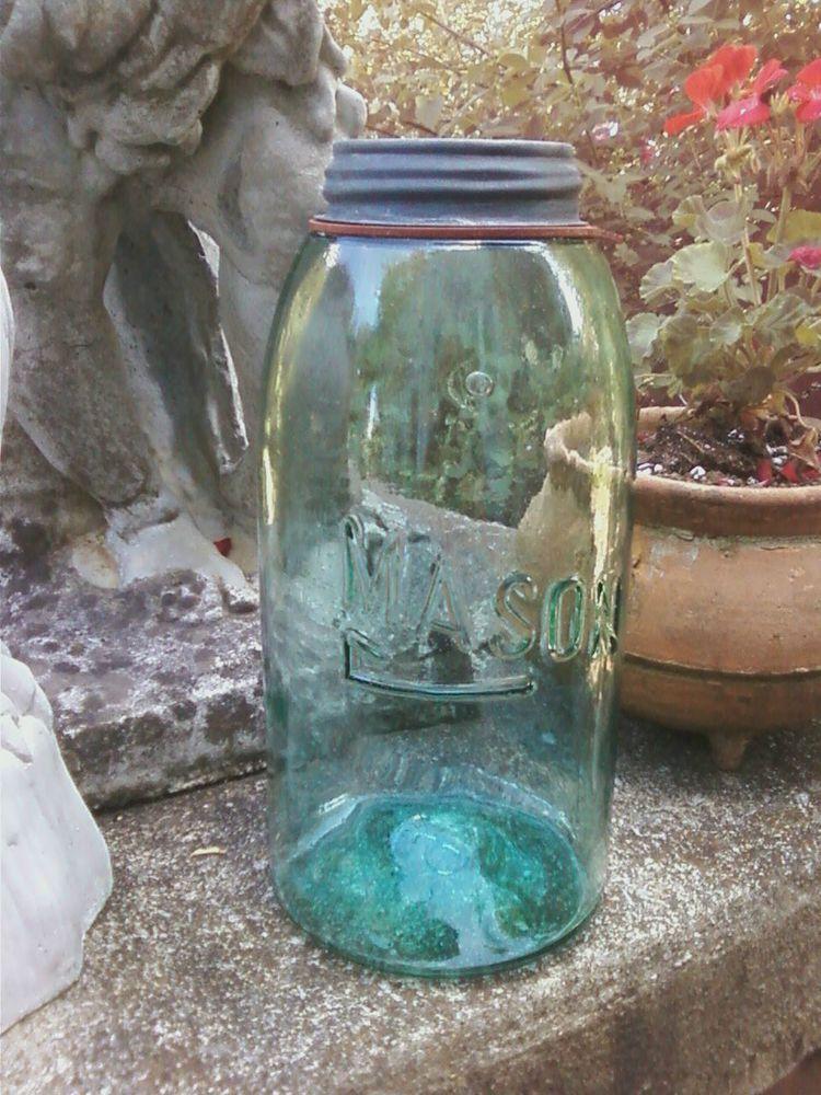 Vintage sheepnose blue Ball canning jar