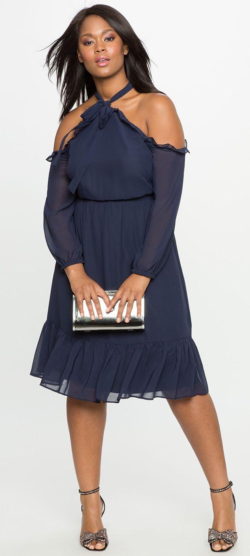 Plus Size Ruffle Retail Halter Neckline Dress Plus Size Fashion