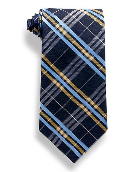 Navy with yellow and light blue plaid pattern tie from Wolfmark.