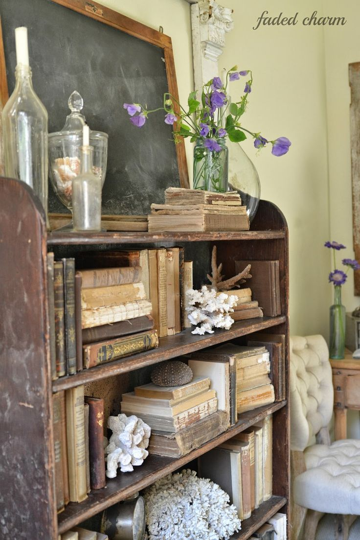 Rustic Bookshelf Antique Bottles Slate Blackboard