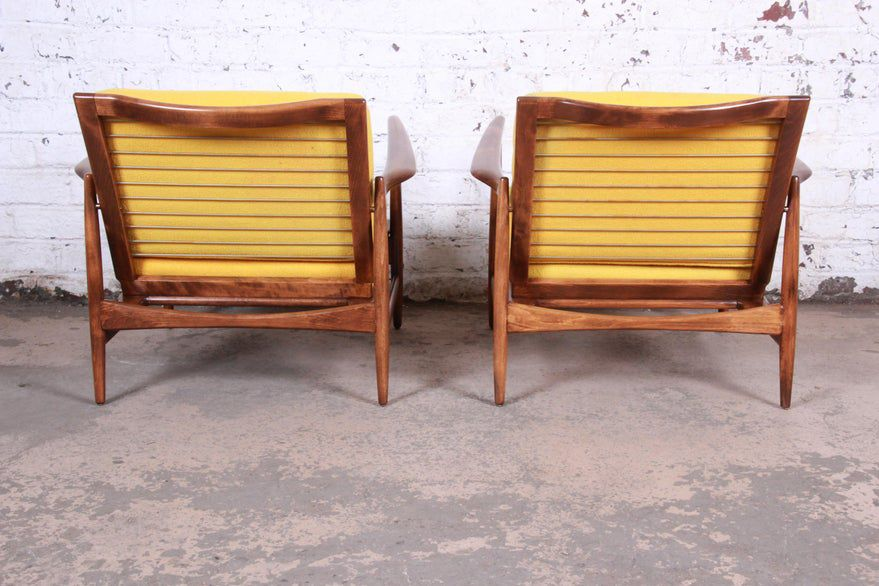 Ib Kofod-Larsen for Selig Danish Modern Sculpted Teak Lounge Chairs, Pair on Chairish