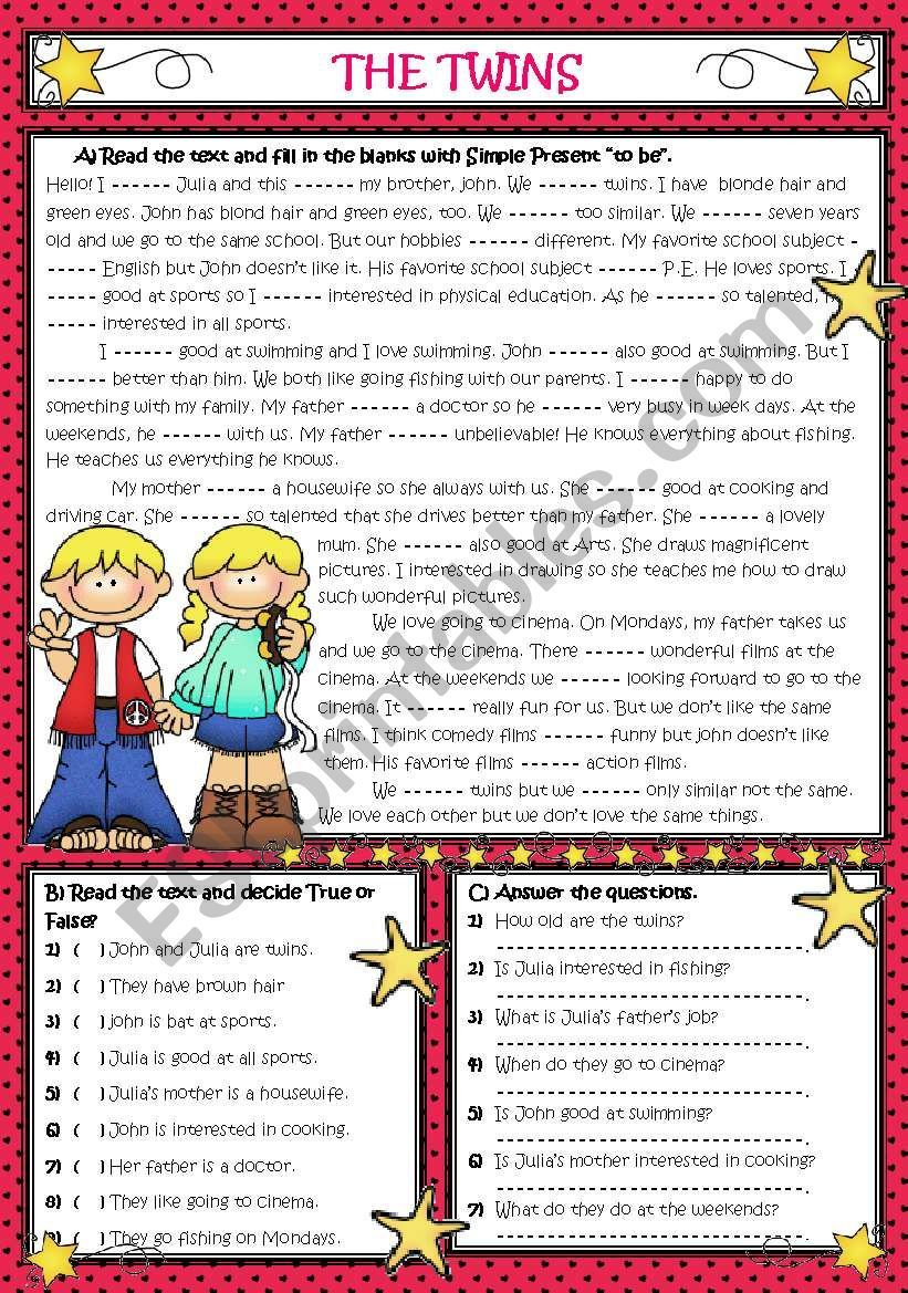 - An Easy Reading Comprehension-grammar Task. Sts Read A Text About