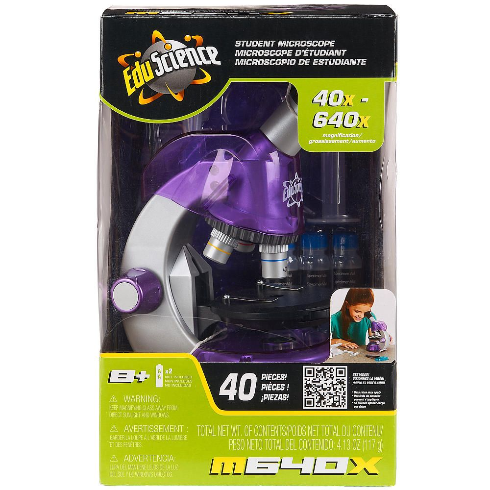 Get a closer view of the world around you with the Edu Science 640x Microscope - Purple.<br><br>Sold only at Toys'R'Us, <b>Edu Science</b> educates you in the science of saving money by providing quality telescopes, microscopes, chemistry and science kits for kids that are fun! By offering a wide array of value-driven learning and educational science toys, with <b>Edu Science</b> you don't need grant money to set up your own science lab. Whether you want to explore all of the natural…