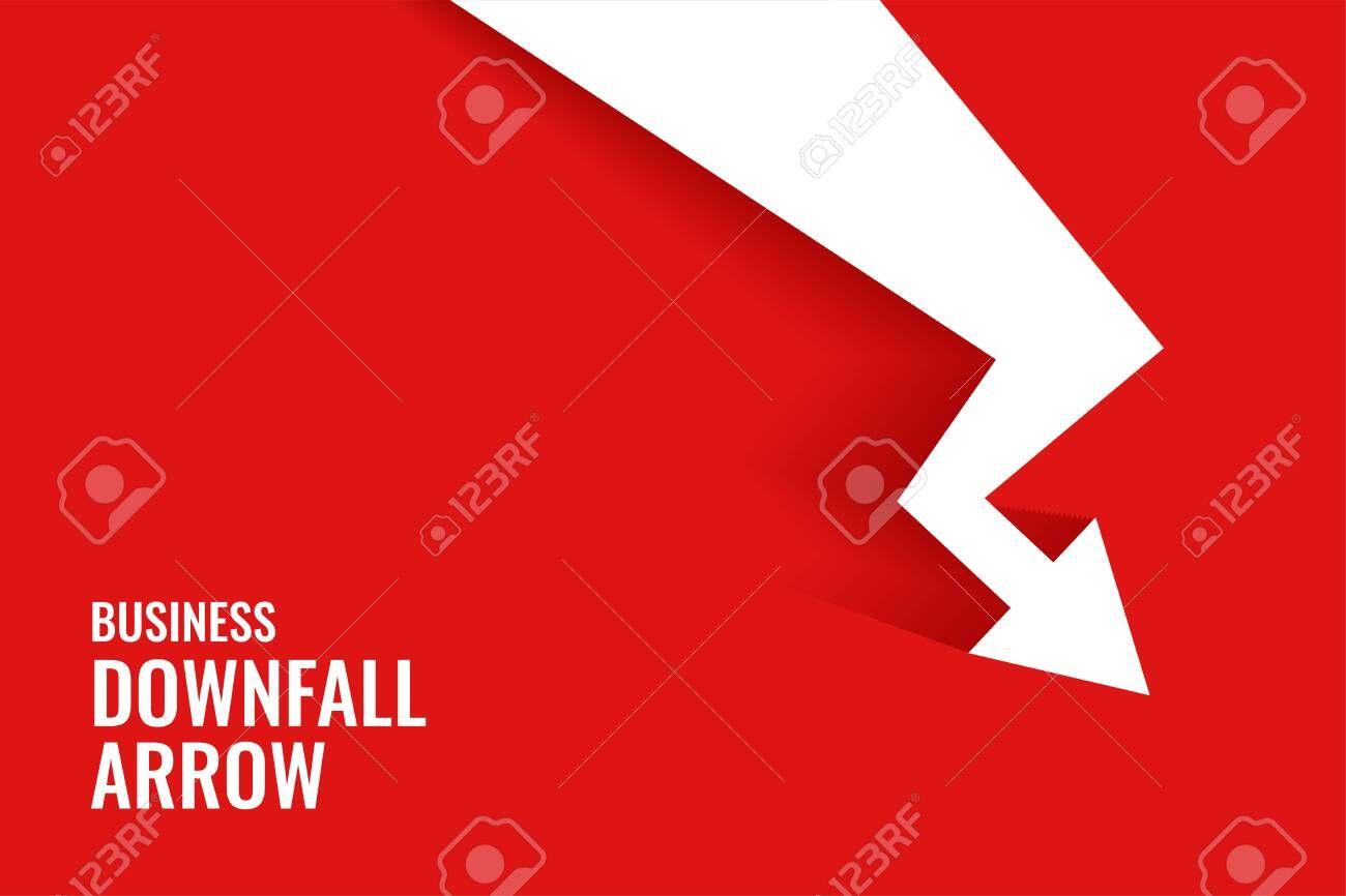 Red Downfall Arrow Showing Downward Trend Background Illustration Sponsored Ad Arrow Showing Red Downfall Arrow Show Background Corporate Brochure