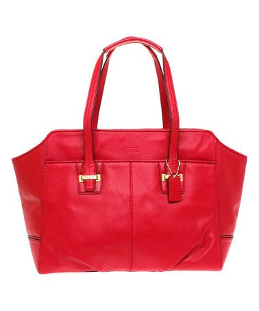 f07fad14b26eea Look at this  zulilyfind! Red Alexis Taylor Leather Carryall  zulilyfinds  This red is really bitchin . I would also wear a leather jacket and some  knee high ...