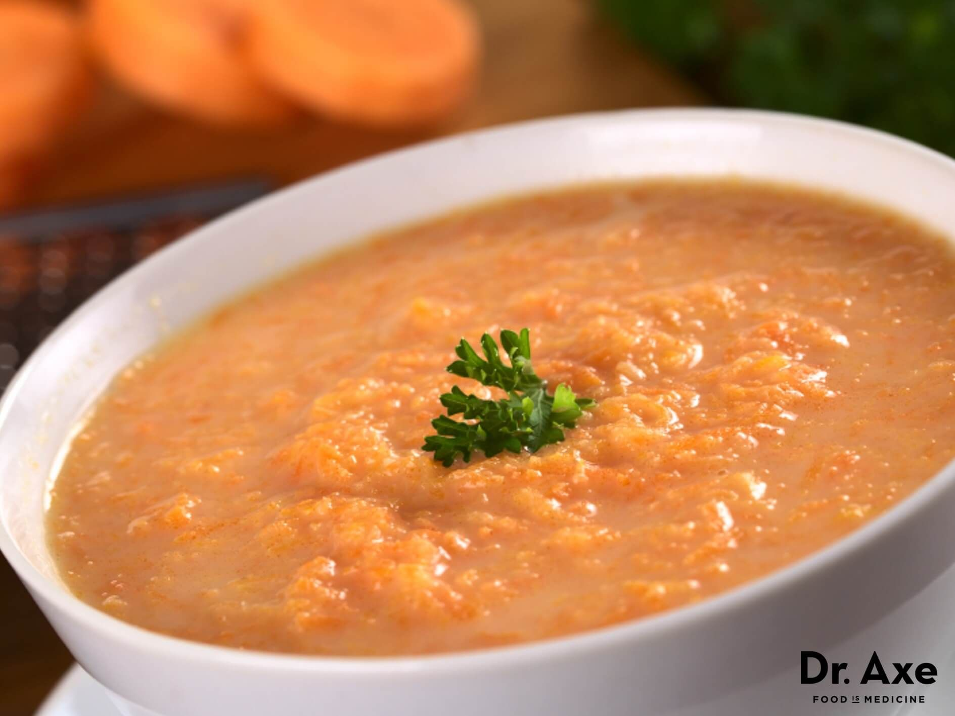 Curried Carrot Soup Recipe Dr Axe Curried Carrot Soup Carrot Soup Recipes Easy Soup Recipes Healthy